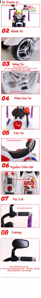 Chi tiết Xe máy điện trẻ em Harley PK 9189 cao cấp