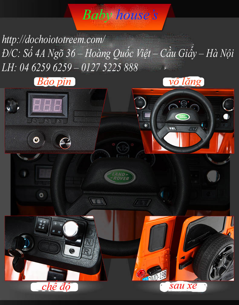 Xe ô tô điện trẻ em|Ô tô điện trẻ em Land Rover DMD198 Hà Nội